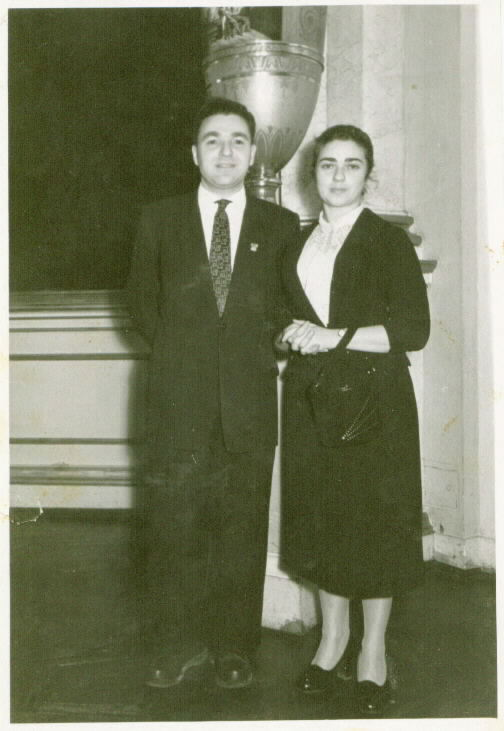 Faina and Josef, the newly-married couple, in the Moscow Kremlin, 1953